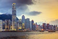 Горизонт города Гонконга Китая стоковое фото rf
