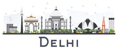 Горизонт города Дели Индии при здания цвета изолированные на белизне Стоковые Фотографии RF