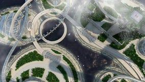 Горизонт города концепции будущий Футуристическая концепция зрения дела