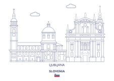 Горизонт города Любляны, Словения Стоковое Изображение RF