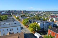 Горизонт города Портленда, Мейн, США стоковые фотографии rf
