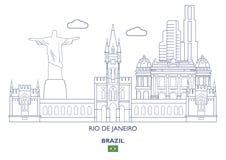 Горизонт города Рио-де-Жанейро, Бразилия Стоковое фото RF