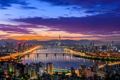 Горизонт города Сеула стоковая фотография
