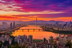 Горизонт города Сеула стоковое фото