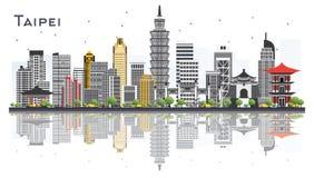 Горизонт города Тайбэя Тайваня при серые здания изолированные на белизне бесплатная иллюстрация