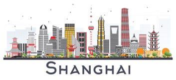 Горизонт города Шанхая Китая при здания цвета изолированные на Whi бесплатная иллюстрация