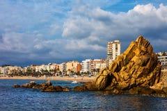 Горизонт городка моря Lloret de mar Стоковая Фотография