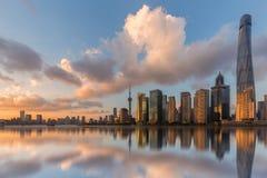 Горизонт города в Шанхае, Китае стоковые фото