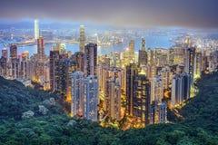 Горизонт города Гонконга Китая Стоковые Фото