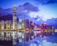 Горизонт города Гонконга Китая Стоковые Фотографии RF