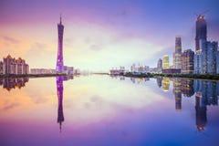 Горизонт города Гуанчжоу, Китая стоковые фото