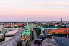 Горизонт города Копенгагена Стоковая Фотография