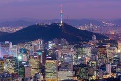 Горизонт города Кореи, Сеула, самый лучший взгляд Южной Кореи Стоковое Изображение