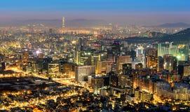 Горизонт города Кореи, Сеула Стоковые Фото
