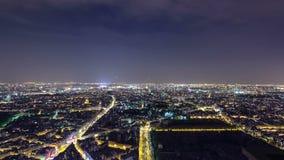 Горизонт города на ноче Франция paris принято сток-видео