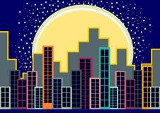 горизонт города на ноче иллюстрация вектора