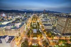 Горизонт города Саппоро, Японии Стоковое Изображение RF
