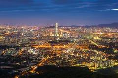 Горизонт города Сеула, самый лучший взгляд Южной Кореи на Namhansanseo Стоковая Фотография