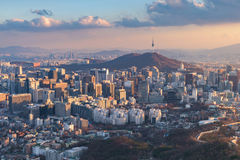 Горизонт города Сеула, самый лучший взгляд Южной Кореи Стоковые Фото