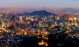 Горизонт города Сеула, Южная Корея Стоковое Изображение RF