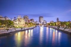 Горизонт города Хиросимы, Японии Стоковое Изображение