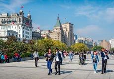 Горизонт города Шанхая, на бунде, Шанхай, Китай стоковое изображение rf