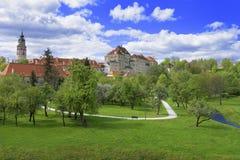 Горизонт города Cesky Krumlov Стоковое Изображение RF