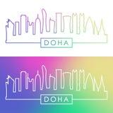 Горизонт Дохи Красочный линейный стиль