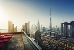 Горизонт Дубай, городской центр города стоковые фотографии rf