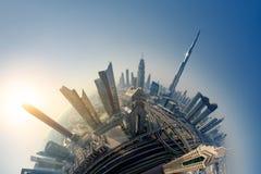 Горизонт Дубай, городской центр города стоковые изображения rf