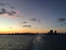 Горизонт захода солнца Майами Стоковое Изображение