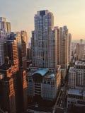 Горизонт захода солнца Чикаго Стоковые Изображения RF