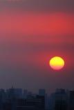 Горизонт захода солнца Шанхая Puxi Стоковое Изображение