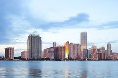Горизонт зданий на районе Brickell в Майами стоковые изображения