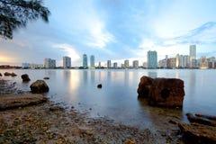 Горизонт зданий на районе Brickell в Майами стоковая фотография rf