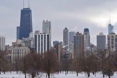 Горизонт зимы Чикаго Стоковое Изображение RF