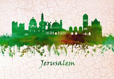 Горизонт Иерусалима Израиля иллюстрация штока