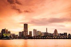 Горизонт Иокогама, заход солнца стоковая фотография