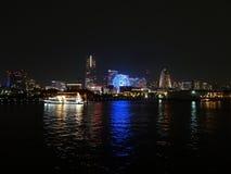 Горизонт Иокогама на ноче Стоковое фото RF