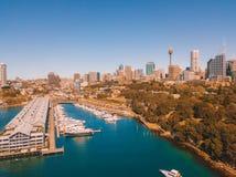 Горизонт и гавань города Сиднея Стоковые Изображения