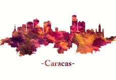 Горизонт Каракаса Венесуэлы в красном цвете иллюстрация штока