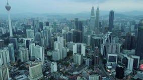 Горизонт Куалаа-Лумпур от взгляда сверху в утре сток-видео