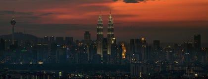 Горизонт Куала Лумпур на заходе солнца Panorma Стоковые Фото