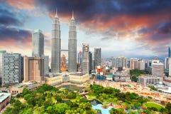 Горизонт Куала Лумпур, Малайзии Стоковые Изображения