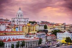 Горизонт Лиссабона, Португалии на Alfama Стоковая Фотография RF