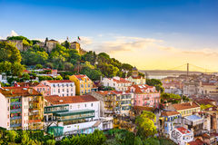 Горизонт Лиссабона, Португалии Стоковые Фотографии RF