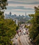 Горизонт Лондона от моста майны Hornsey аркы стоковое изображение rf