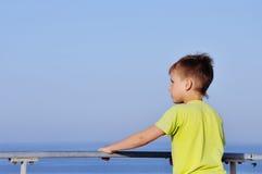 горизонт мальчика счастливый смотря молод Стоковые Фотографии RF