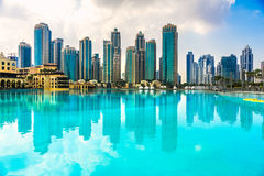 Горизонт Марины Дубай, ОАЭ Стоковое фото RF