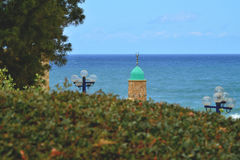 Горизонт моря минарета Яффы ландшафта Стоковое Изображение